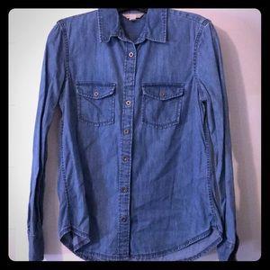 Banana Republic blue denim button up shirt